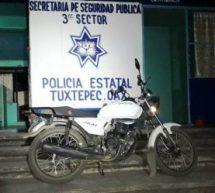 Una motocicleta robada fue recuperada en el Papaloapan