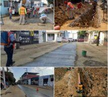 Obra de drenaje sanitario en la calle Morelos presenta avance del 50%, tras 15 de inicio
